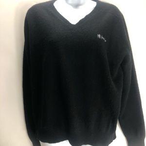 Vintage men's Pringle black v neck sweater